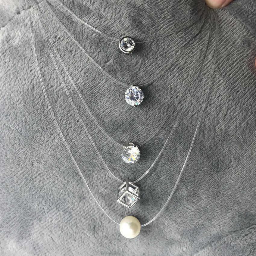 2019 新しい女性透明釣り糸ネックレス見えないチェーンネックレスペンダントラインストーンチョーカーネックレスファッションジュエリー