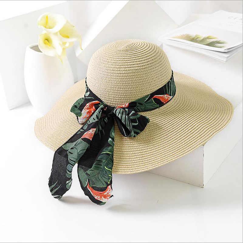 BINGYUANHAOXUAN 2018 nuevo verano Mujer Sombrero de sol arco cinta playa Panamá  sombreros para las mujeres 3a0d7521fda