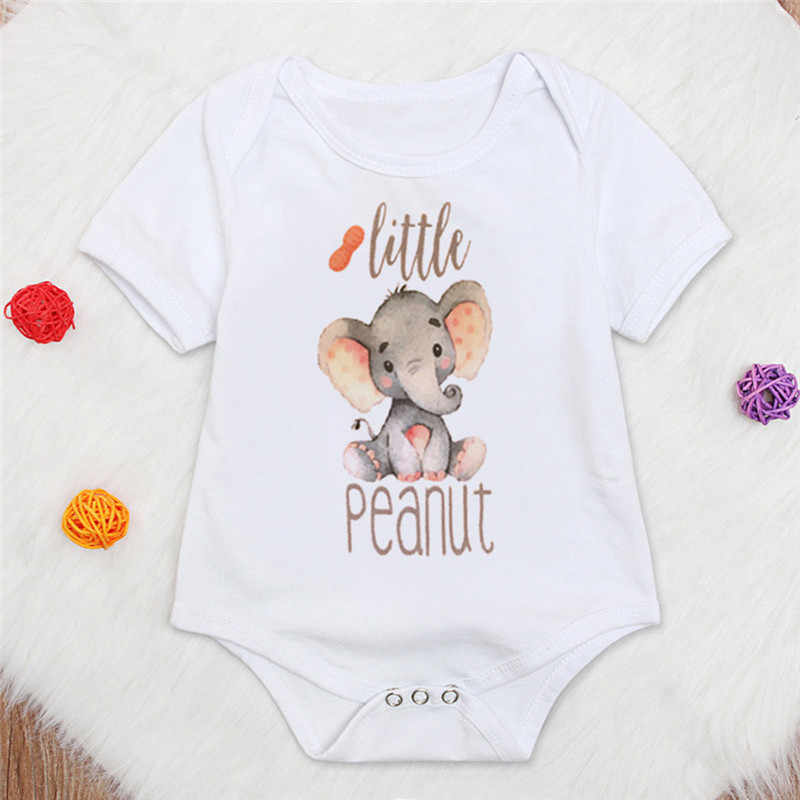 Toddler Cartoon Elephant Bodysuit Girls Boys Letter Printed Newborns Short Sleeve Fashion Summer Jumpsuit Baby Clothes 3M-4T A20