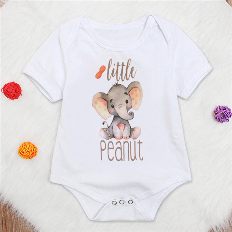 Toddler Cartoon Elephant Bodysuit Girls Boys Letter Printed Newborns Short Sleeve Fashion Summer Jumpsuit <font><b>Baby</b></font> Clothes 3M-4T A20 image