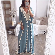 2019 Womens Bohemia Explosion Long Maxi Dress Loose Summer Holiday Tassel Beach Ethnic Style Party
