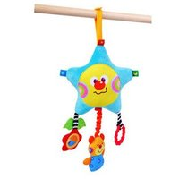 Candice Guo Brand New Hot Sale Baby Toys Plush Colorful Star Bear Bed Bell Bed Hang