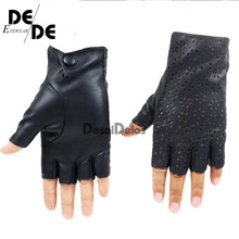 DesolDelos Ladies Fingerless Gloves Breathable Soft Leather for Dance Party Show Women Black Half Finger Mittens R006.