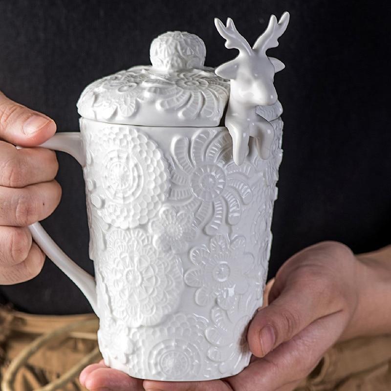 Tasse classique de café couverture porcelaine | Tasses à café Stoup blanche en relief, cadeau de noël au nouvel an cadeau de cerf, vaisselle de boisson