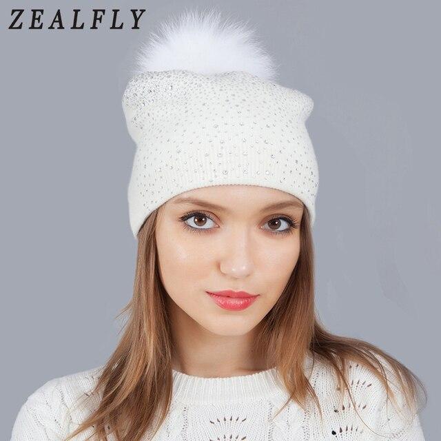 White Mink Fox Fur Ball Beanies Hat Women Girl  S Wool Hat Fur Pom Pom  Female Winter Hats Knitted Rhinestone Brand Stocking Hat ee79920ac68
