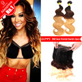 Wiggins Hair 360 Lace Frontal With Bundle 1b/4/27 Ombre Peruvian Body Wave 360 lace frontal closure with bundles Human Hair