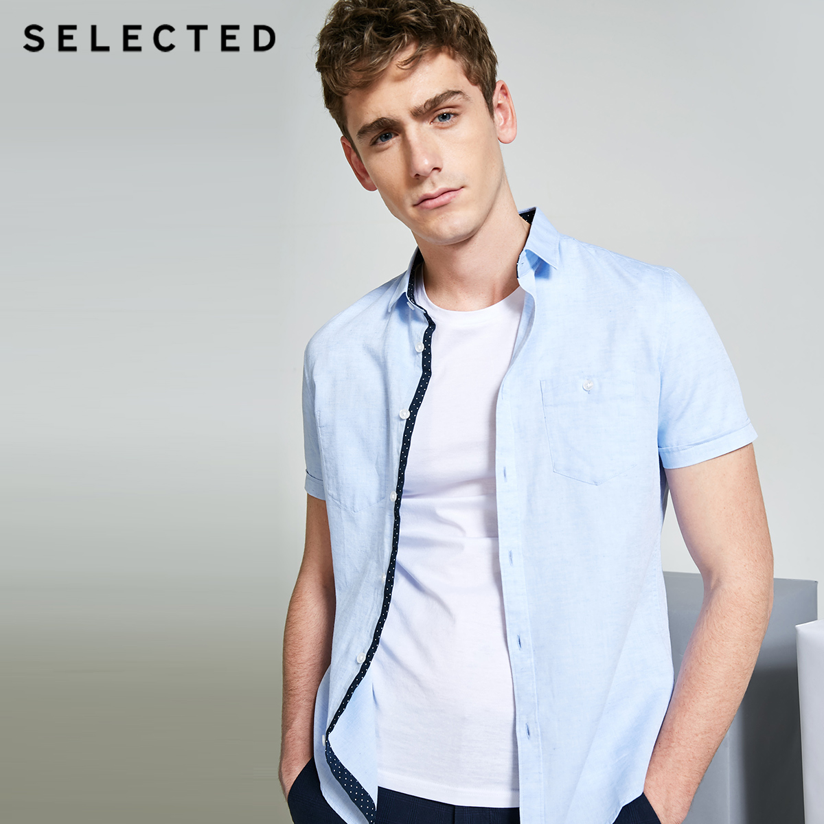 SELECTED Men's Cotton And Linen Slight Stretch Pure Color Pointed Collar Regular Fit Short-sleeved Shirt C|418204544
