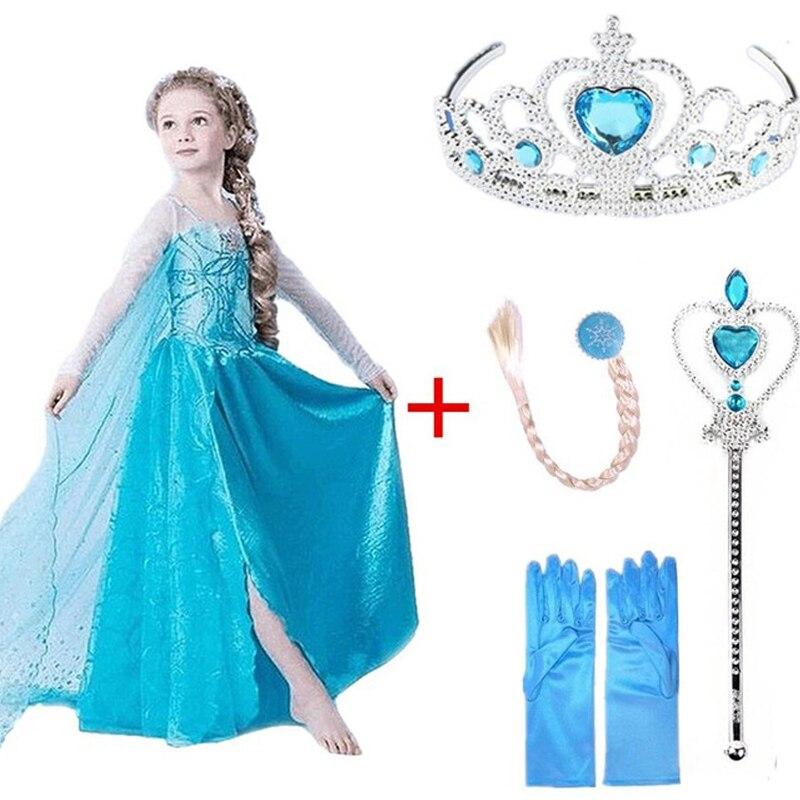 Girls Dress Elsa Party Dresses for Girls Kids Princess Dress Cosplay Anna Elza Costume Snow Queen Vestidos Girls Clothing dress elsa girls dress girls dress elsa - title=