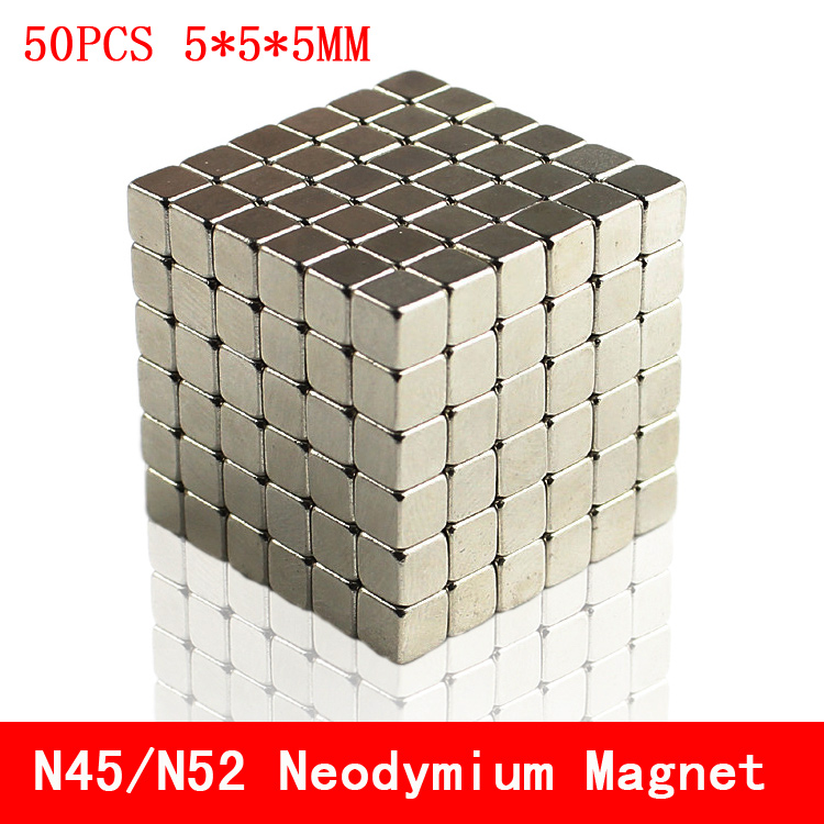 50pcs <font><b>Neodymium</b></font> <font><b>magnet</b></font> <font><b>5x5x5</b></font> Rare Earth N45/N52 small Strong permanent 5*5*5mm fridge Electromagnet NdFeB nickle magnetic square image