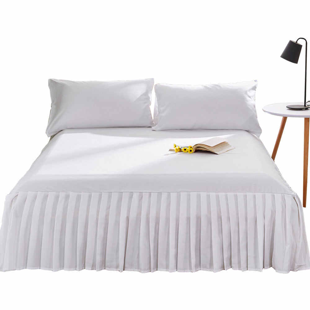 Bed Skirt Bedcover Solid Fitted Sheet Cover Bedspread Bedroom Home Textile Skirt Cubrecama Single Full Queen Bed Sheet