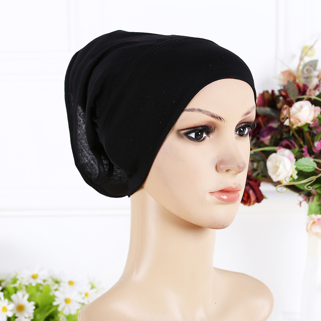 New Arrival Designer Full Cover Inner Muslim Cotton Hijab Cap Islamic Head Wear Hat Underscarf 13 Colors Women Muslims Hat