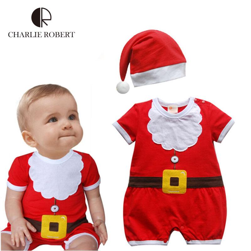 ropa del beb del beb de la navidad disfraz sombrero set mono mono recin nacido