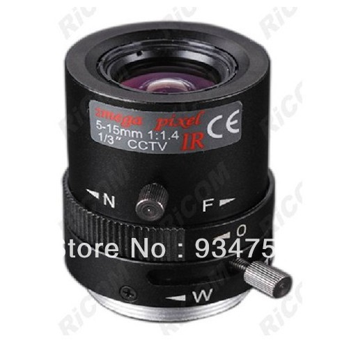 1/3 CS 1.3 million pixels 5-15MM Manual Iris IR Lens