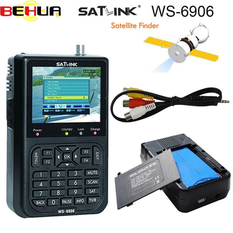 Original Satlink WS-6906 Sat Satellite Finder DVB-S2 FTA Band Satlink Digital Satellite Finder Meter WS 6906 3.5inch LCD Display satlink ws 6979 digital satellite finder dvb s2