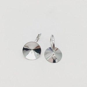 Image 1 - Ms.Betti 14Mm Rivoli Oorbellen Bevindingen 1122 Oostenrijkse Crystal Copper Instellingen Met Franse Lever Terug Voor Sieraden Diy Maken