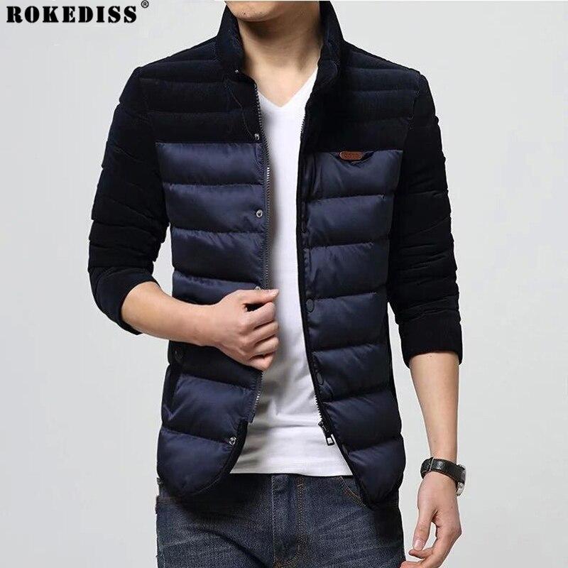 ФОТО 2016 New Fashion Brand Clothing Men Parka Corduroy Patchwork Men Jacket Winter Trend Korean Slim Fit Men Winter Coat Men TC429