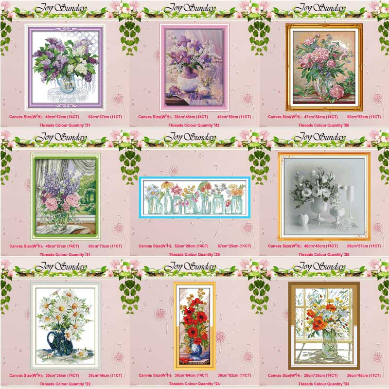Poppy Lilac Purple Flower Vase Counted 11CT 14CT Cross Stitch Set DIY DMC Cross-stitch Kit Embroidery Needlework Home Decor