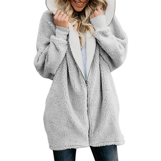 Women's Jackets Winter Coat Women Cardigans Ladies Warm Jumper Fleece Faux Fur Coat Hoodie Outwear manteau Femme Plus size 5XL 4