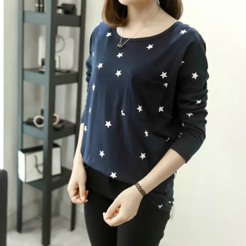 Star print women big size t shirt long sleeve shirt girls for Large shirt neck size