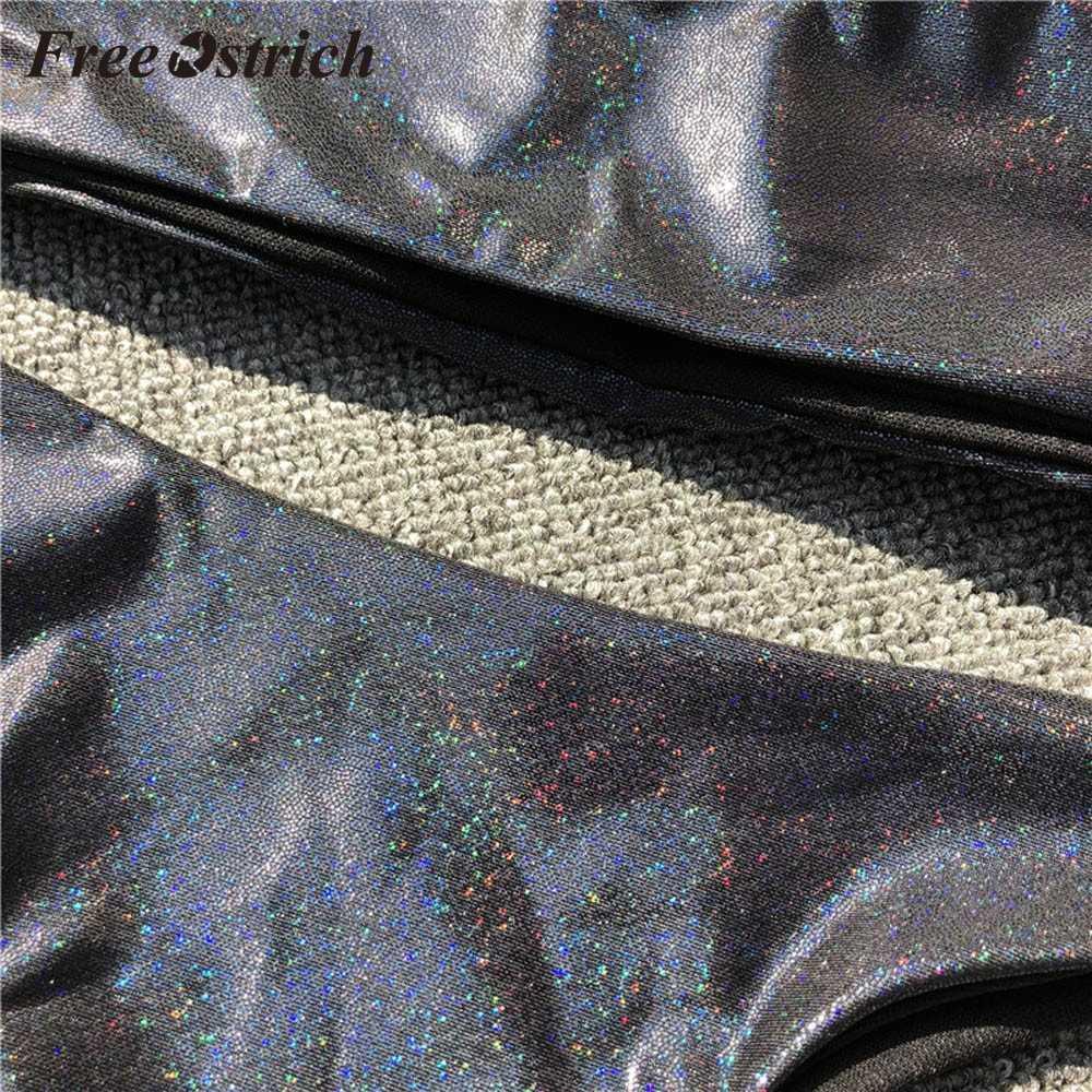 Darmowe strusia Hot sprzedaży kobiety cekiny skórzane Off Shoulder push-up usztywniany biustonosz zestaw plażowy stroje kąpielowe Bling Balck bez ramiączek garnitur