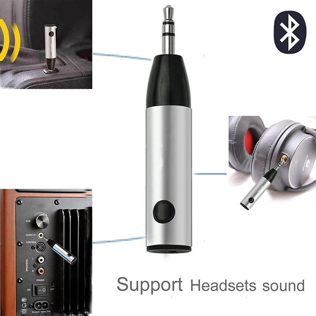 ihens5 Mini Music with Mic for Headphones Speaker  Receiver Adapter 3.5mm Jack AUX Audio Wireless Bluetooth Car Kit Handsfree