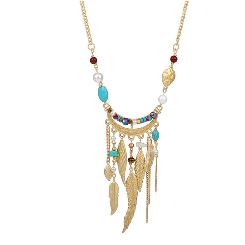 Europe and America long section leaves crystal tassel pearl necklace female imitation turquoise beads sweater chain N164