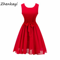 2017 Summer A Line Dress Women Short Sleeve Solid Color O Neck Vintage Style Casual Dress