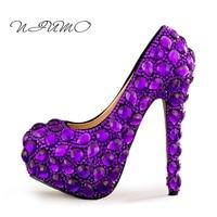Zapatos de tacón alto púrpura del diamante Del Diamante hecho a mano de cristal zapatos de novia zapatos de boda zapatos de adultos vestido de Noche vestido de novia