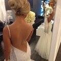 Великолепная Русалка Weding Платья 2016 Vestidos De Noiva с Бретельках Backless Жемчуг Свадебные Платья Свадебные Платья