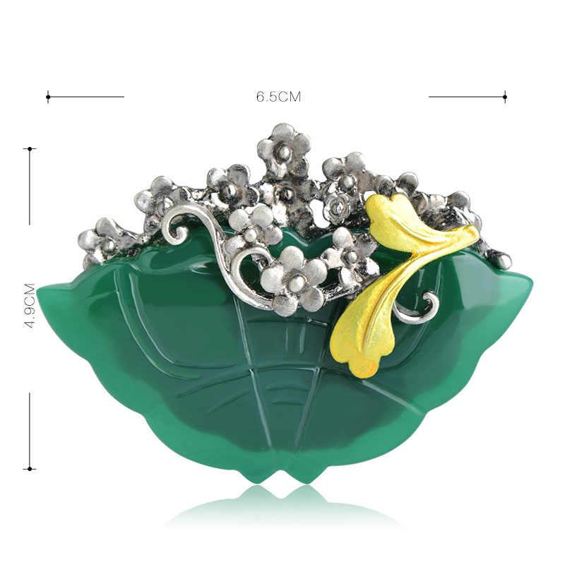 Funmor Klasik Kuning Bunga Bentuk Bros Liontin untuk Wanita Hadiah Ulang Tahun Pesta Perhiasan Kerah Pin Resin Logam Lencana