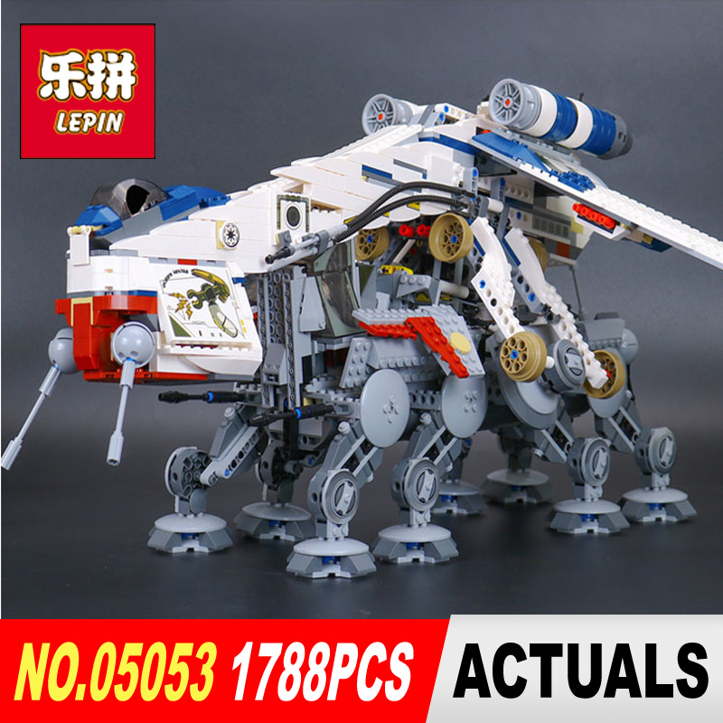 LEPIN 05053 STAR 1788Pcs Republic Dropship with AT-OT Walker Model Building blocks Bricks Compatible legoed 10195 Toy Gift WARS lepin 05053 1788pcs star series wars republic dropship with at ot walker building blocks bricks set compatible 10195 toys