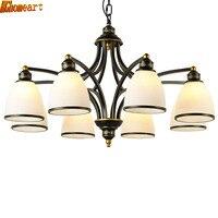 HGhomeart American Retro Chandelier E27 Living Room Light 3 Head 6 Head 8 Restaurant Light Iron Lamp European Study Lamp
