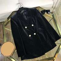 Женская Черная Куртка Осень Элегантная куртка с длинным рукавом Верхняя одежда 2018 Новое поступление Модная куртка пальто