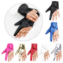 Dancing Women Leather Gloves Showing Black Gold White Red Fingerless Sexy Ladies Party