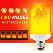 цена на E14 Led Flame Effect Fire Light Bulb E27 Led Flame Lamp Bulb E26 Bulb Corn Lamp 220V Flickering Lamp 7W Artificial Flame 99leds