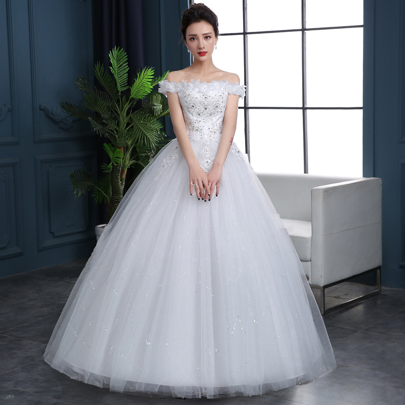Wedding Gown 2019 Bridal Dress Ball Gown Vintage Floral Lace Tulle Off The Shoulder Short Sleeve Floor Length White Plus Size