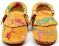 2016 Новые поступления Граффити Замши Натуральной Кожи Детские Мокасины Обувь новорожденные первые ходунки мягкой подошвой младенческой bebe Детская Обувь