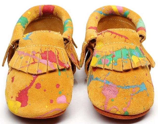 2016 New arrivals Graffiti Bebê Mocassins de Camurça de Couro Genuíno Shoes newborn primeiro walkers suave sole infantil bebe Sapatos de Bebê