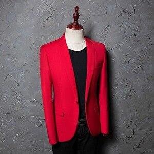 Image 3 - PYJTRL marka męska Casual czerwony garnitur kurtka ślubna Slim Fit mężczyźni Blazer kostiumy sceniczne dla piosenkarki kostium Homme