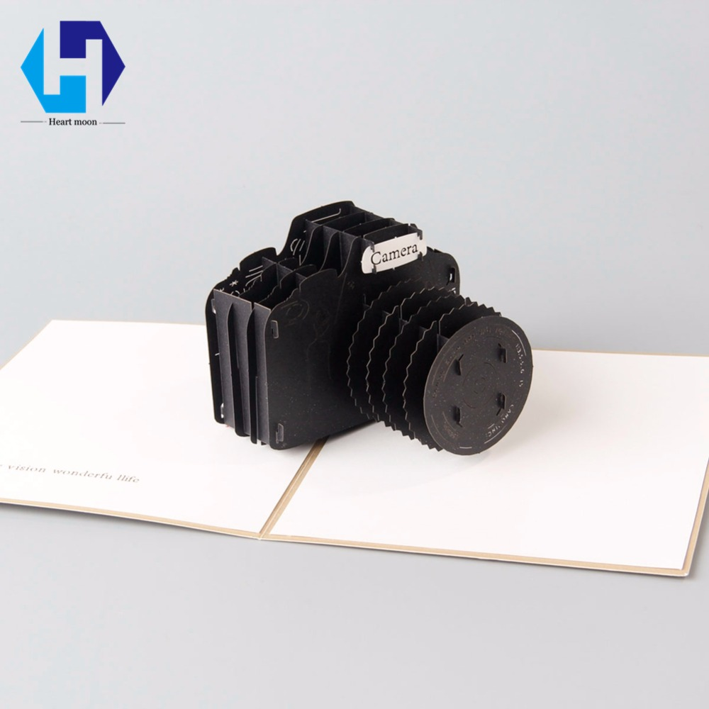 3D pop up camera dies greeting card laser cutting envelope postcard hollow carved handmade kirigami Children Creative gifts creative gifts 3d pop up card greeting
