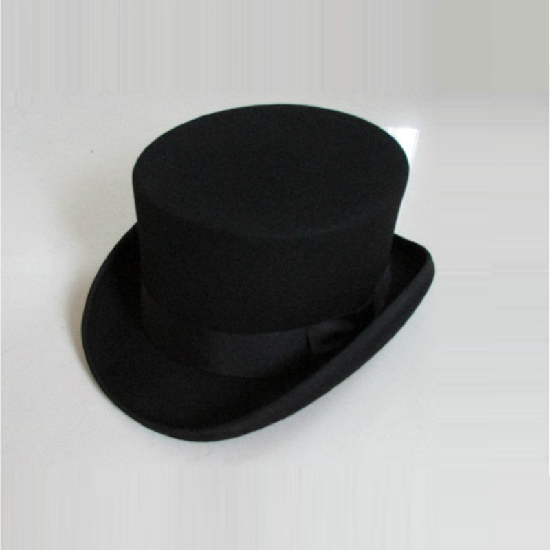British Style Men Women Wool Fedora Steampunk Top Hat Cylinder Magician Magic Cap Good Package Wool Fedoras Cap 12cm High B-8114(China)
