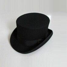 Ingiliz tarzı erkekler kadınlar yün Fedora Steampunk silindir şapka silindir sihirbaz sihirli kapak iyi bir paket yün Fedoras kap 12cm yüksek B 8114