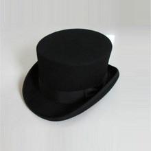 Sombreros de hoburg de lana Unisex, sombrero Fedora con tapa Steampunk, cilindro de mago magia, sombrero de fieltro, 12cm de alto B 8114