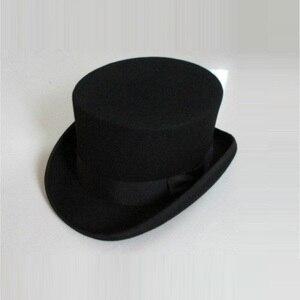 Image 1 - בריטי סגנון גברים נשים צמר פדורה Steampunk מגבעת צילינדר קוסם קסם כובע טוב חבילה צמר מגבעות לבד כובע 12cm גבוהה B 8114