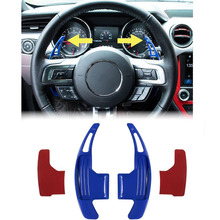 Chuang Qian 2Pcs Steering Wheel Dull Polish Shift Paddle Shifter For 2015-2019 Ford Mustang (Blue)