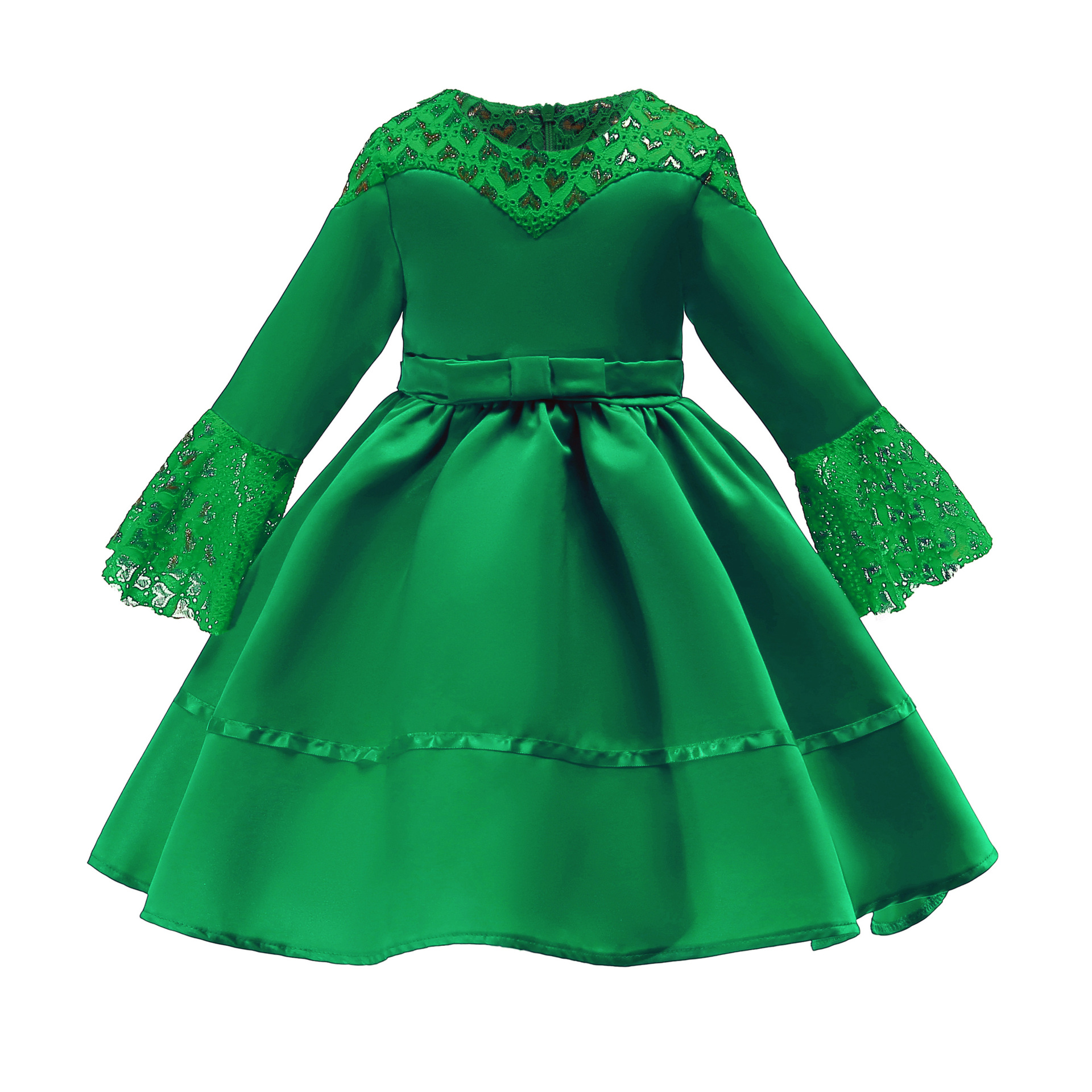 Girls Flare Sleeve A-line Dress Lace Muslim Girls Dresses 8-8year Kids Red  Green Vintage Party Wedding Evening Princess Frocks