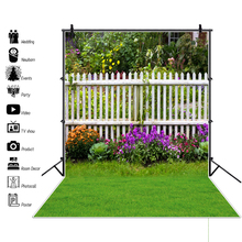 Laeacco Spring Green Grass Flowers Wooden Fence Garden Baby Outdoor Scenic Photography Backgrounds Photo Backdrops Studio