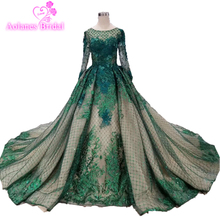 2019 Sparkly Green Champagne Sequin Prom Dresses Dubai Long Sleeves New Yousef Aljasmi Arabic Women Formal Evening Dress