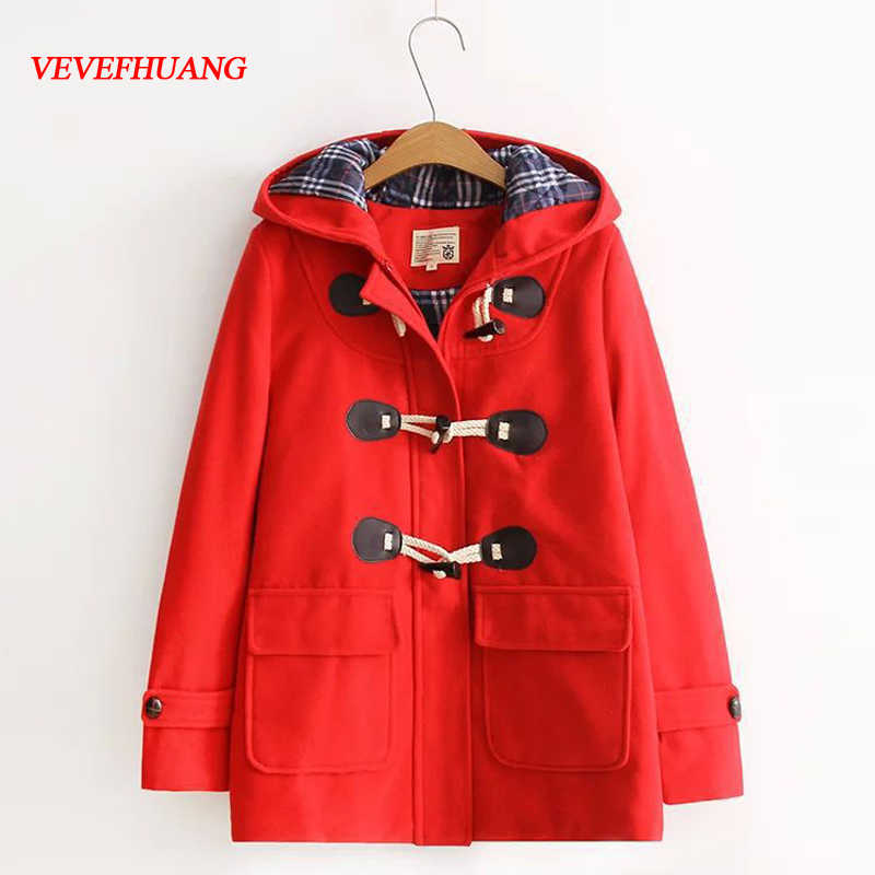 Autumn Winter New Solid Short Wool Blend Ladies Coat Horn Button Women's Jacket Hooded Full Sleeve Korean Casual Fashion Coat