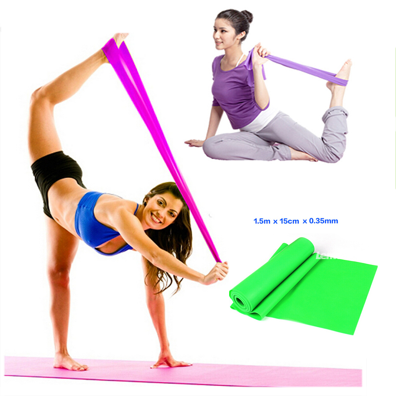 66f4300669 1.5m Yoga Stretch Belt Rubber Resistance Bands Exercise Workout Fitness  Aerobics Women Crossfit
